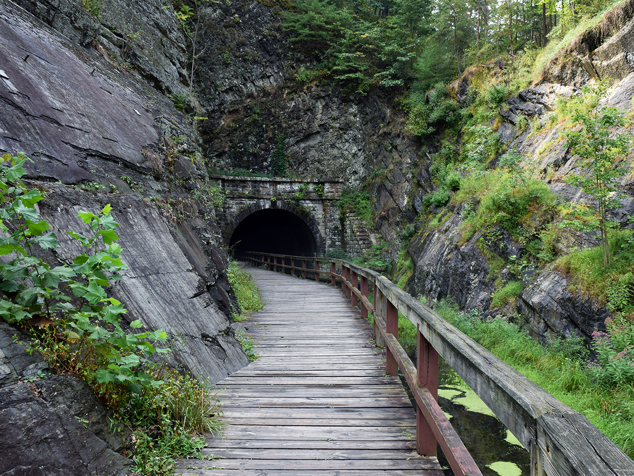 View of the southern entrance and boardwalk leading to Paw Paw Tunnel
