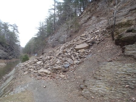 A rockslide covers the towpath near Paw Paw Tunnel.