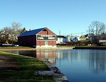 The canal surrounds the Williamsport Visitor Center.