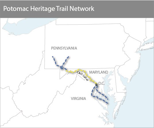 Potomac Heritage Trail Highlighting C&O Canal