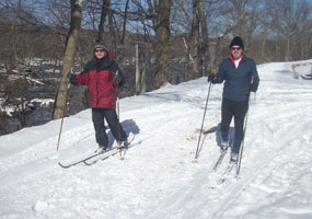Photo of cross-country skiers on towpath at lock 19.