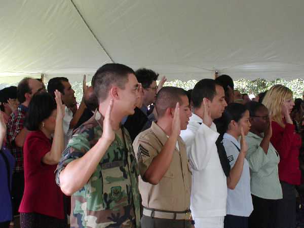 New US citizens take the Oath of Citizenship.