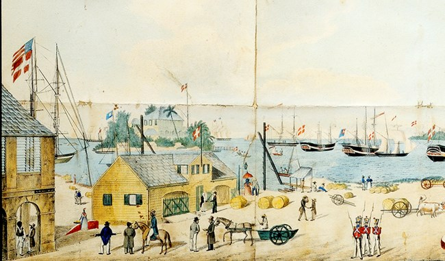 Painting of the wharf and port of Christiansted in year 1800.