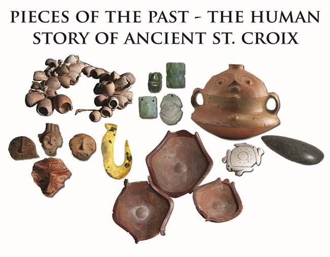 Photograph of ancient artifacts recovered from archeological sites across St. Croix