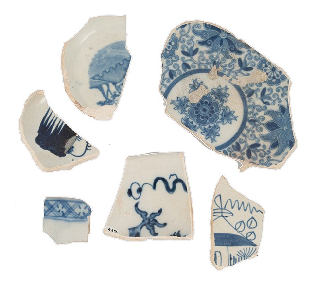 photograph of pieces of blue and white china found on St Croix, Virgin Islands