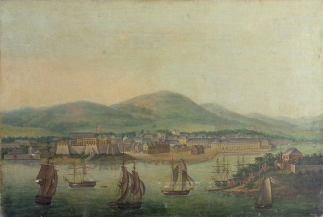 painting of Christiansted Harbor and Protestant Cay, 1800