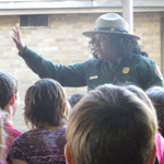 Park Ranger Toni speaks to a visiting school group