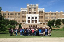Field trip group in front of Central High School.
