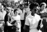 Little Rock Nine member Elizabeth Eckford is taunted by crowd after being turned away from Central High School.