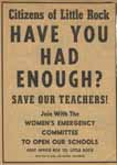 Newspaper advertisement from the Women's Emergency Committee urging voters to recall segregationist school board members, 1959.