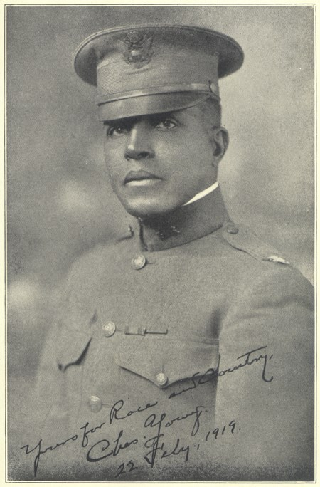 Portrait of Charles Young in Army uniform and officer's hat