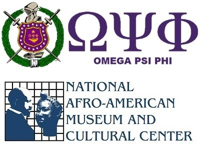 Partners Logos of Omega Psi Phi and National Afro-American Museum and Cultural Center.