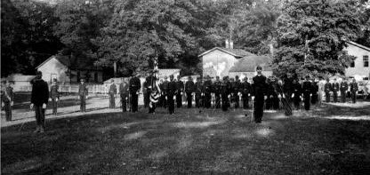 Young-2nd from left-in front of cadets at Wilberforce