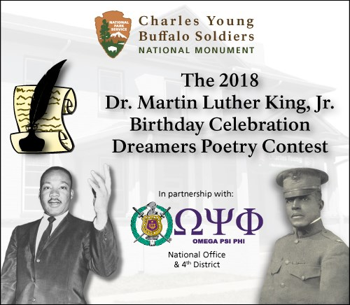Images of Dr. King and Col. Young with logos in between and quill pens in the background