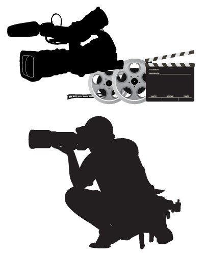 A silhouette of a photographer and camera equipment above them