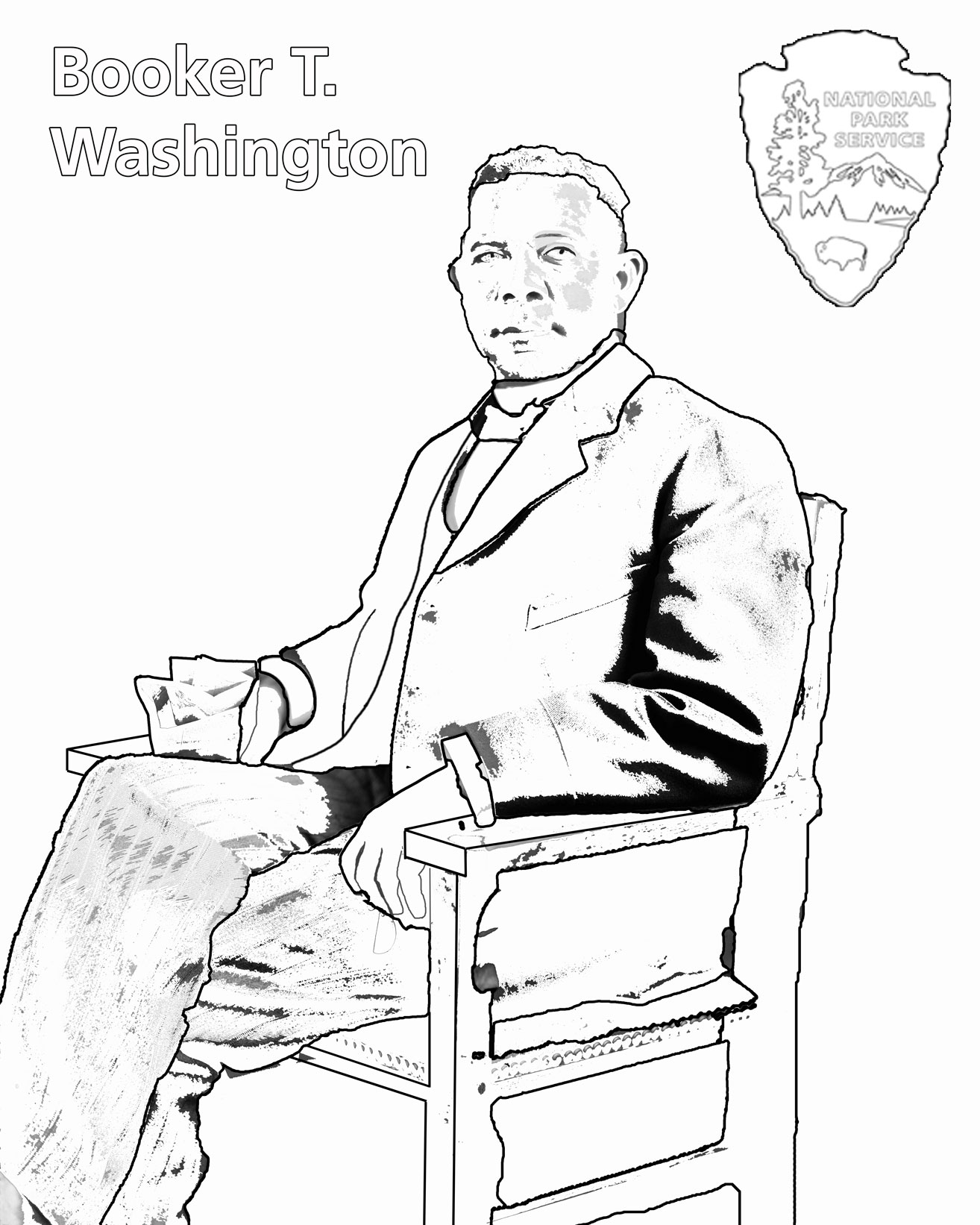 booker t washington u thru history k 1 booker t washington coloring page nps gov chyo upload booker t washington outline jpg