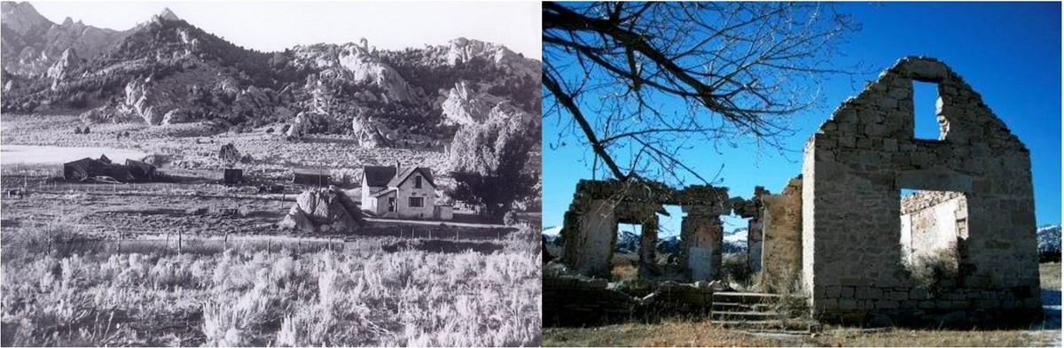 Historic and current photos of Tracy House side by side
