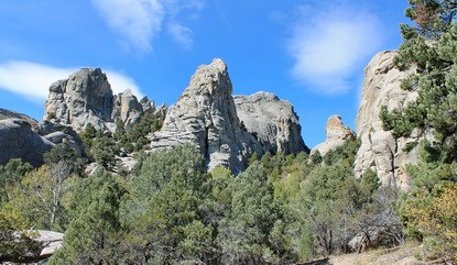 Sculpted granite pinnacles and landscape
