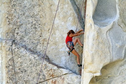 A female climber on City of Rocks granite