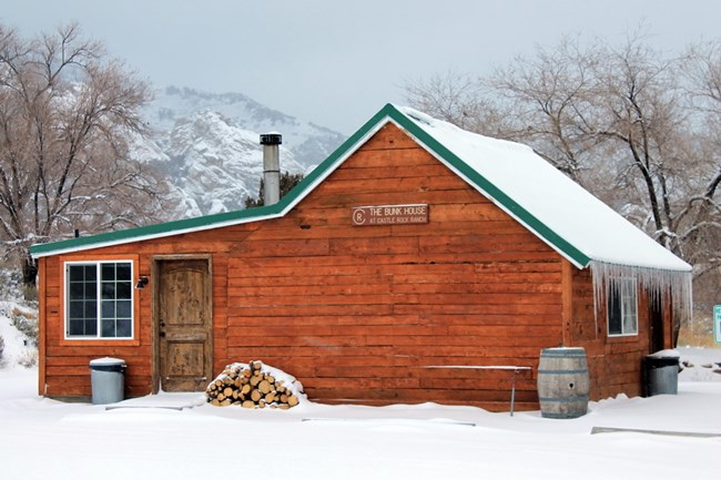 Picture of bunkhouse in the winter.