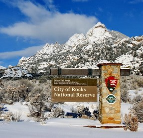 City of Rocks entrance sign in winter