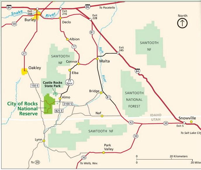Albion Idaho Map.Directions Transportation City Of Rocks National Reserve U S