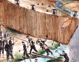 Painting of prisoners and guards at Andersonville prison camp.