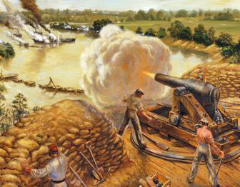 Painting of Confederate troops at Fort Darling firing on Union gunboats in the James River.