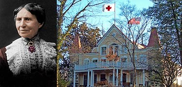Portrait of Clara Barton and picture of the house with Red Cross Flag and American Flag flying in the breeze
