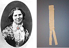 Clara Barton wearing a Red Cross pin at her neck and image of a bandage.