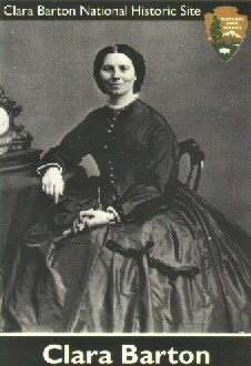 Civil War trading card with photograph of Clara Barton circa 1865.
