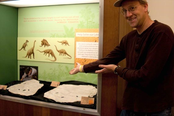 Dr. John Foster showcases his latest discovery, a lizard trackway in sandstone from the Morrison Formation.