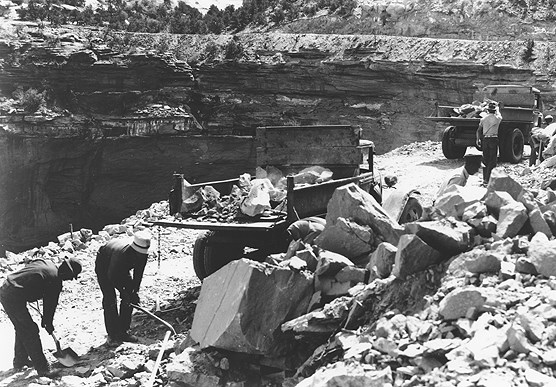 Workers on Rim Rock Drive