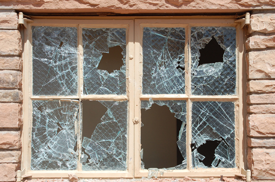 historic windows shattered at Devils Kitchen