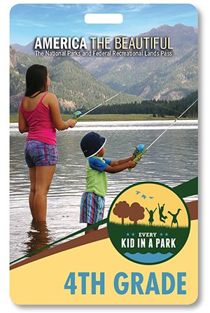 2018-2019 4th Grade Pass showing two kids fishing at a lake on the San Juan National Forest in Colorado