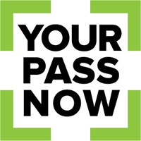 Your Pass Now logo: Text reads Your Pass Now inside a broken green square.