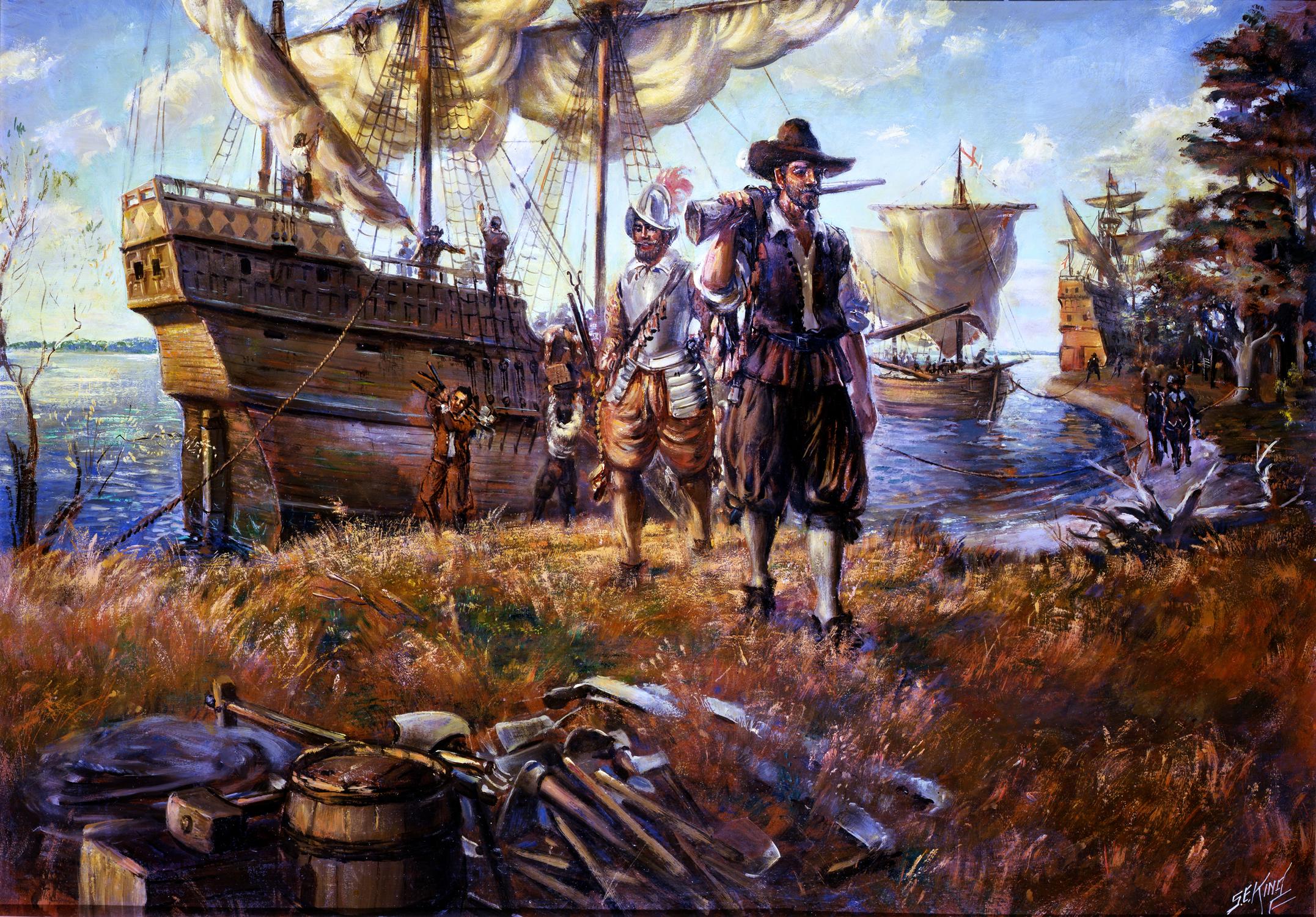 three English ships arrive at Jamestown Island