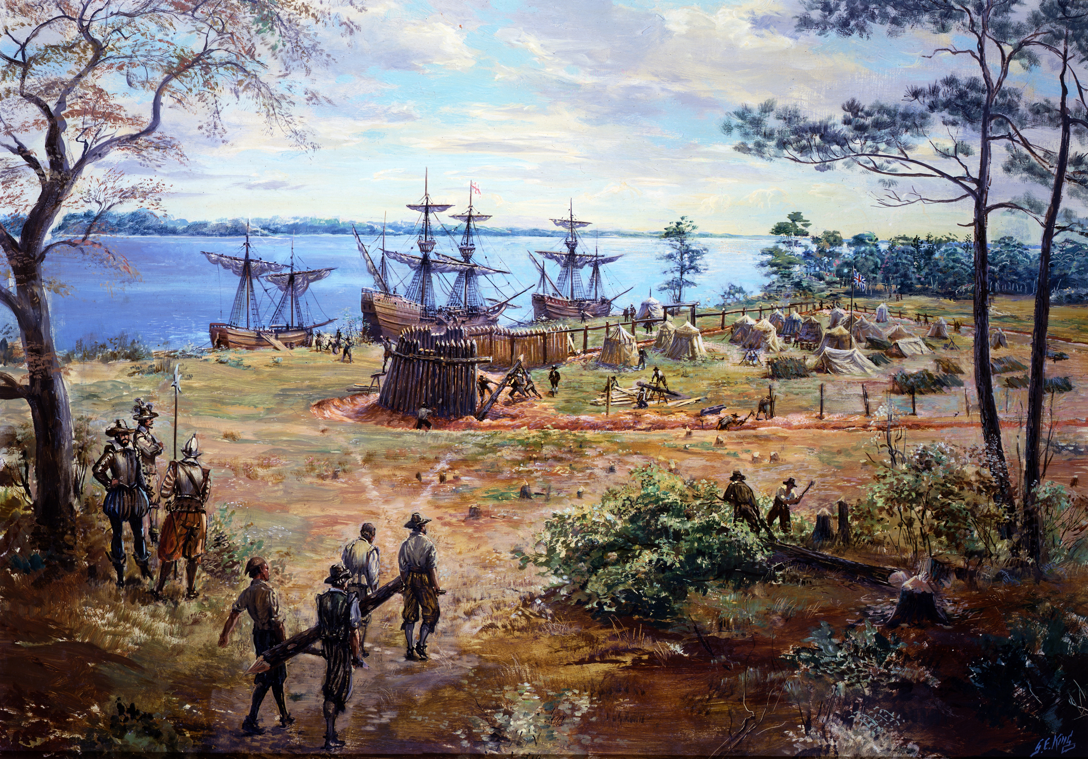 building the first fort, May-June 1607