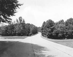 View of the Colonial Parkway as it approches one of the many pullouts along its path