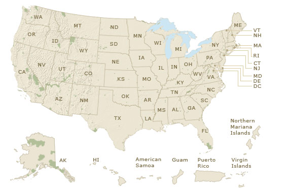 Find A Park US National Park Service - Map ou us
