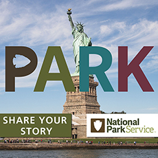 Statue of Liberty with Share Your Story and National Park Service