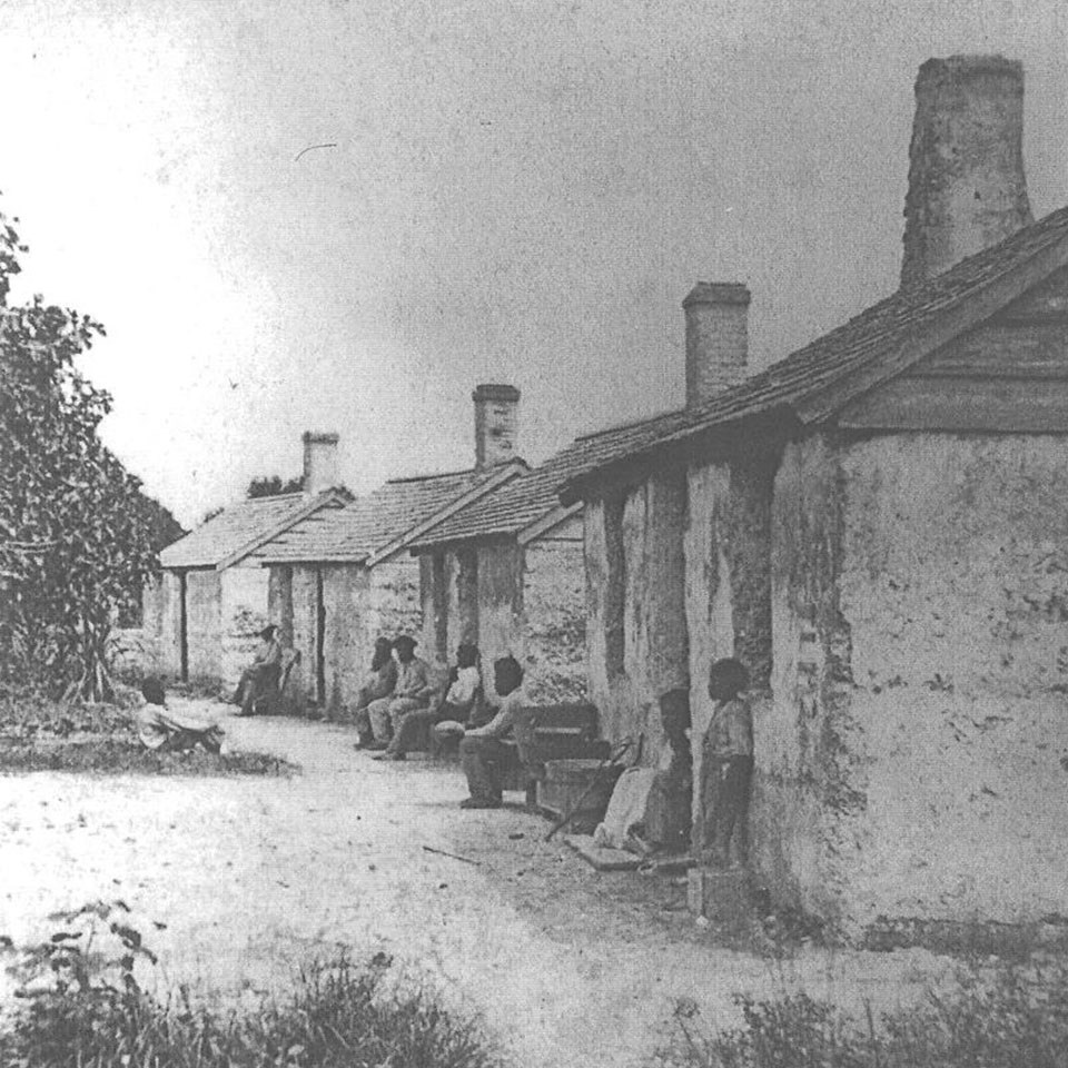 historic photo of tabby slave cabins