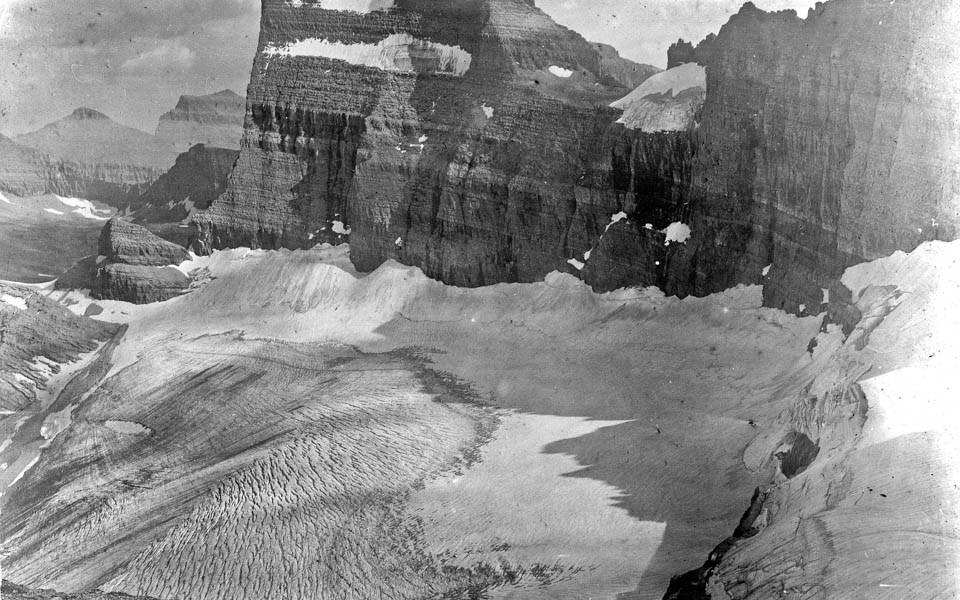 A mountainous glacier.