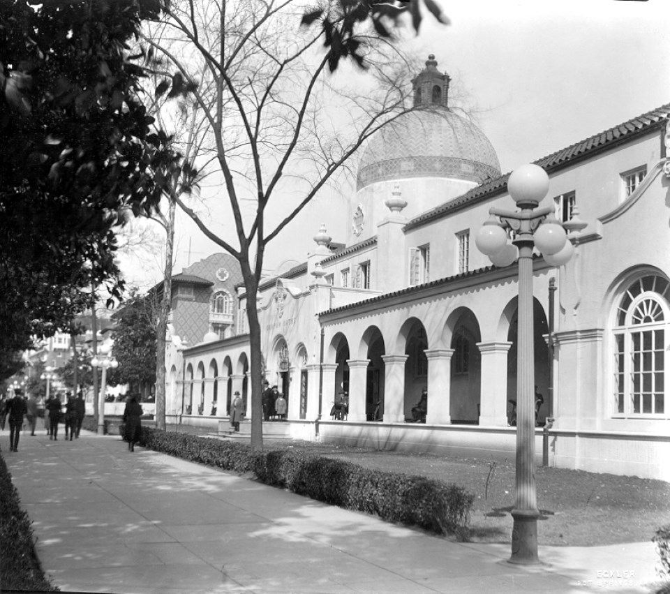 Looking North towards the Quapaw Bathhouse with its domed roof and large arches.