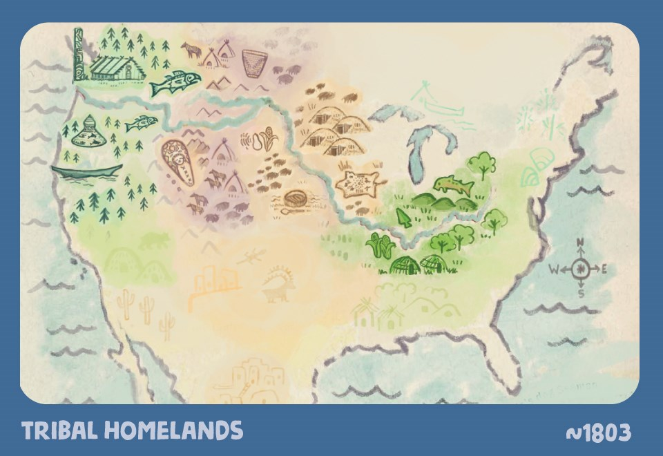 Tribal Homelands. ~1803. Illustrated map of North America. Land is filled with tribal art, food, and technology: canoes, totem poles, teepees, woven baskets, earth lodges, buffalo, mounds, and carvings. Pacific northwest, rocky mountain, great plains, and