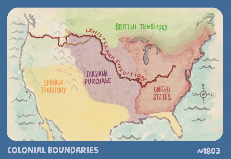 Colonial Boundaries. ~1803. Illustrated map of North America. Land is divided into large sections. The eastern seaboard is labeled United States. The midwest and Rocky Mountains is labeled Louisiana Purchase. The west and southwest is labeled Spanish Terr