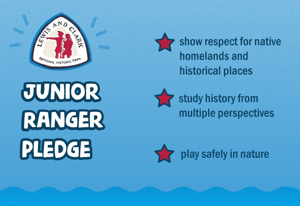 Junior ranger pledge. Lewis and Clark Trail logo. Show respect for native homelands and historical places. Study history from multiple perspectives. Play safely in nature. Blue background. Red stars.