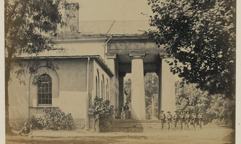 Side view of Arlington House in 1864.