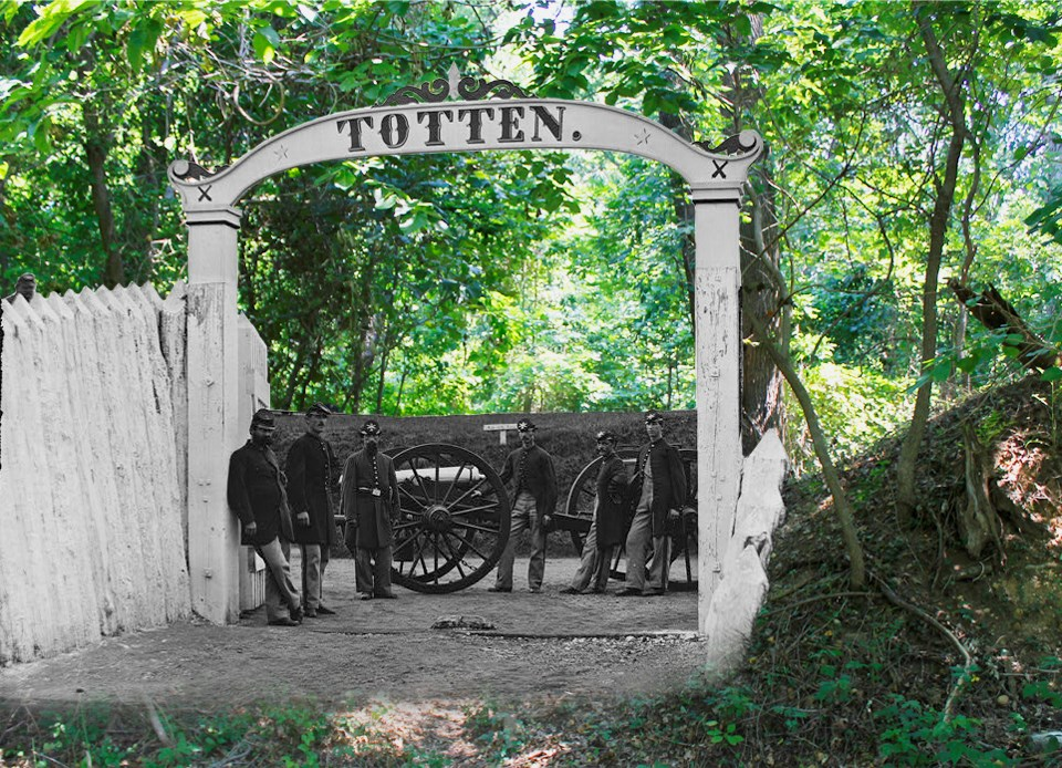 Historic photograph of Fort Totten superimposed on present day image of Fort Totten Park.