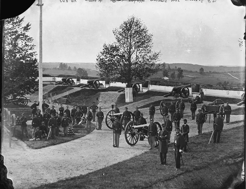 Union soldiers at Fort Stevens during the Civil War.